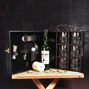 Leather Whiskey Case 6 Glasses Black Bar Set