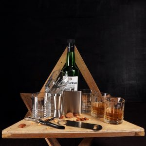 Leather Whiskey Case 6 Glasses Coffee Bar Set