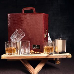 Portable leather Whiskey Bar Case 6 Glasses Set
