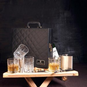 Leather Whiskey Travel Case 6 Glasses Qtblk Bar Set