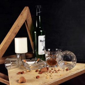 Swanky Gift Set Diamond Cut Whisky Glasses Ashtray Set |  SW-GS-DWG-AT