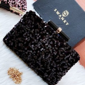 Unique Evening Clutches bags for weddings  | SW-SQ-CL/BLK