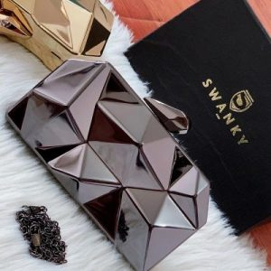 Stone Cut Evening Bag Clutches Handbag Alloy Metal