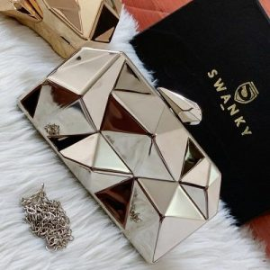 Stone Cut Evening Bag Clutches Alloy Metal Silver