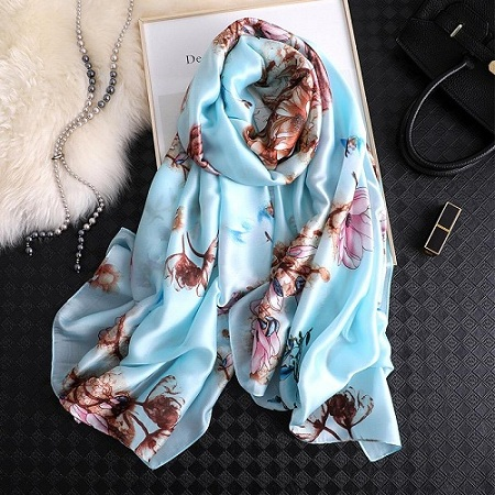 Blue Silk Stoles Online for Women Flower Printed