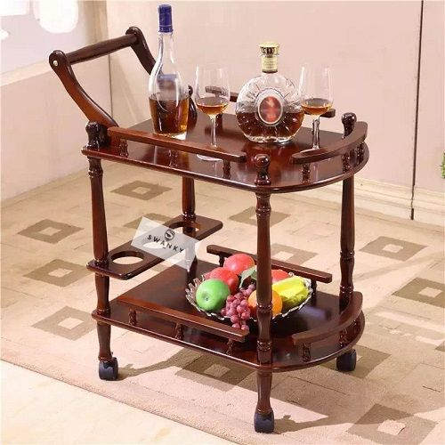 Modern Serving Trolley Wooden With Wheels Car