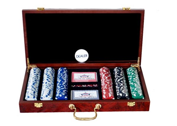 Personalized Poker Chips Set 300 Wooden Case Box