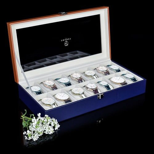 Faux Leather Watch Case 14 Slot Display Watch Box