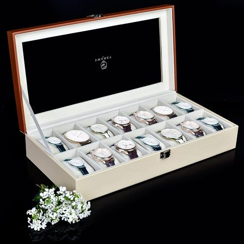14 Slot Watch Case Display Leather Watch Box