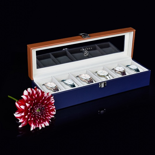 Leather Watch Case 6 Slot Travel Display Box-