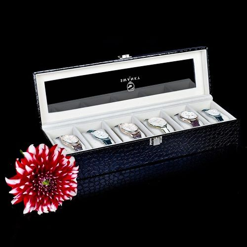 Faux Leather Black Watch Case 6 Slot Display Box