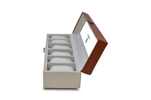 6 Slot Watch Case Faux Leather White & Brown