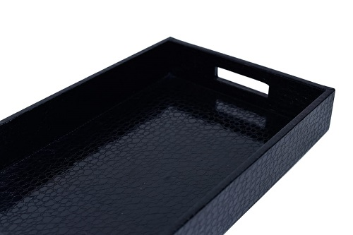 Black Leather Serving Tray With Handles Croc Textured